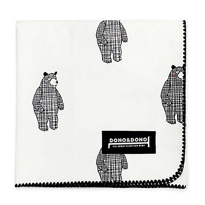 Alternate image 1 for Dono&Dono Bear Cotton Cuddle Blanket in Black/White