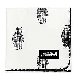 Dono&Dono Bear Cotton Cuddle Blanket in Black/White