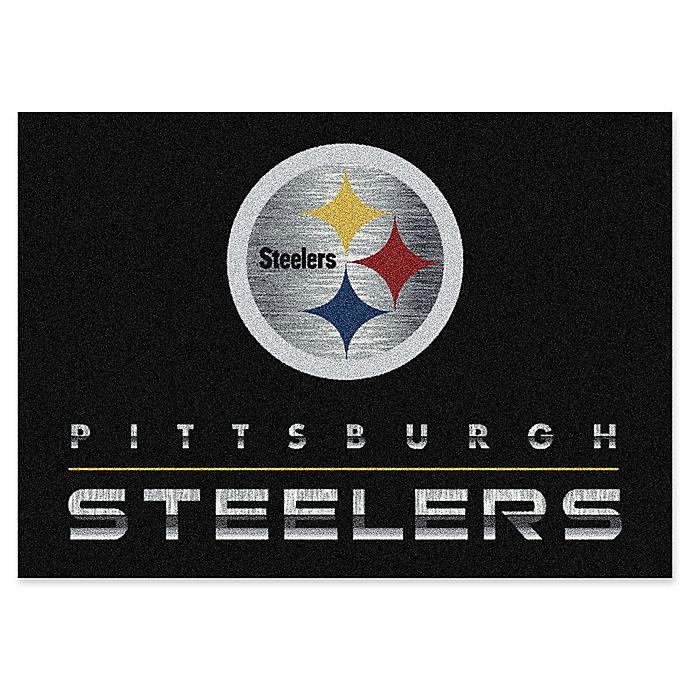Nfl Pittsburgh Steelers Chrome Effect Area Rug In Black