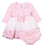Nannette Baby® Size 3-6M 3-Piece Rose Dress, Cardigan and Panty Set