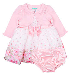 Nannette Baby® 3-Piece Rose Dress, Cardigan and Panty Set