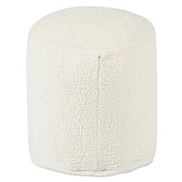 Majestic Home Goods™ Faux Fur Sherpa Ottoman Pouf in Cream