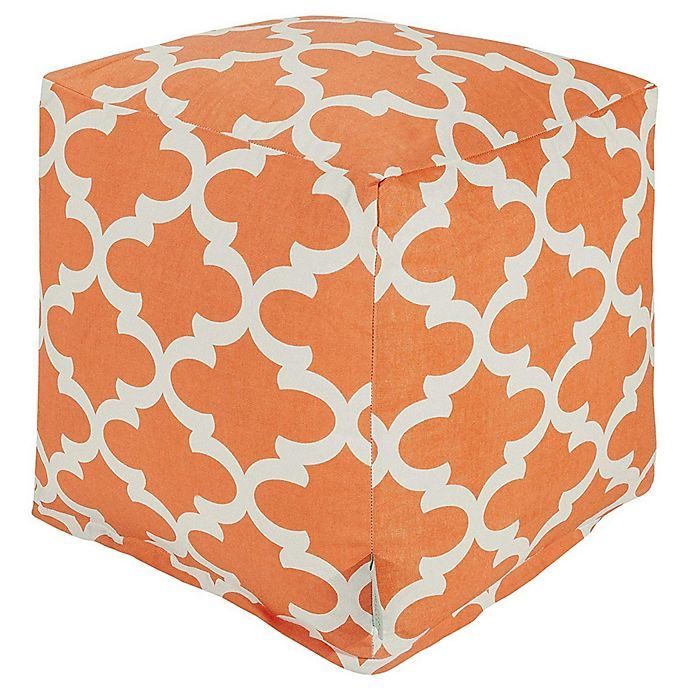 Alternate image 1 for Majestic Home Goods™ Polyester Trellis Ottoman in Peach