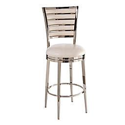 Hillsdale Furniture Roulen Swivel Counter Stool in Nickel/Ivory