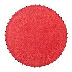 Destination Summer Lindos Round Placemat with Beaded Trim in Coral