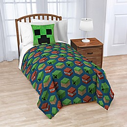 Minecraft Nogginz Throw Pillow and Blanket Set