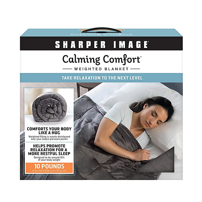 Sharper Image Calming Comfort 10 Lb Weighted Blanket In Grey Bed