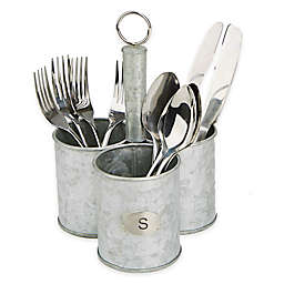 Mind Reader Three-Section Cylinder Metal Flatware Caddy in Silver
