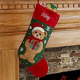Teddy Bear Personalized Needlepoint Stocking
