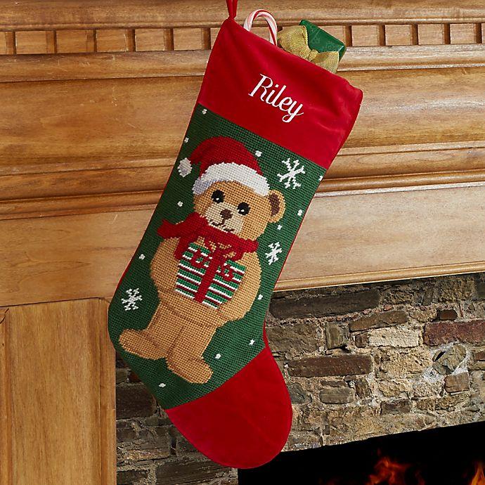Alternate image 1 for Teddy Bear Personalized Needlepoint Stocking