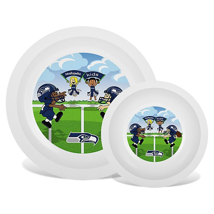 Alternate image 1 for Baby Fanatic® NFL Seattle Seahawks Plate & Bowl Set