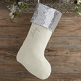 Glimmering Silver Sequin Personalized Christmas Stocking