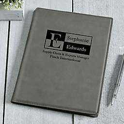 Sophisticated Style Personalized Junior Padfolio - Charcoal