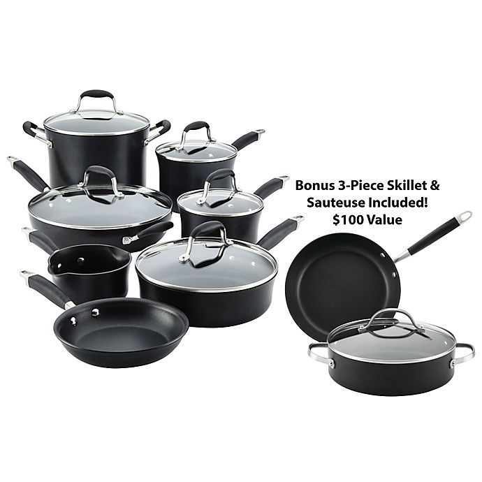 Alternate image 1 for Anolon® Advanced Onyx Hard Anodized Nonstick 12-Piece Cookware Set