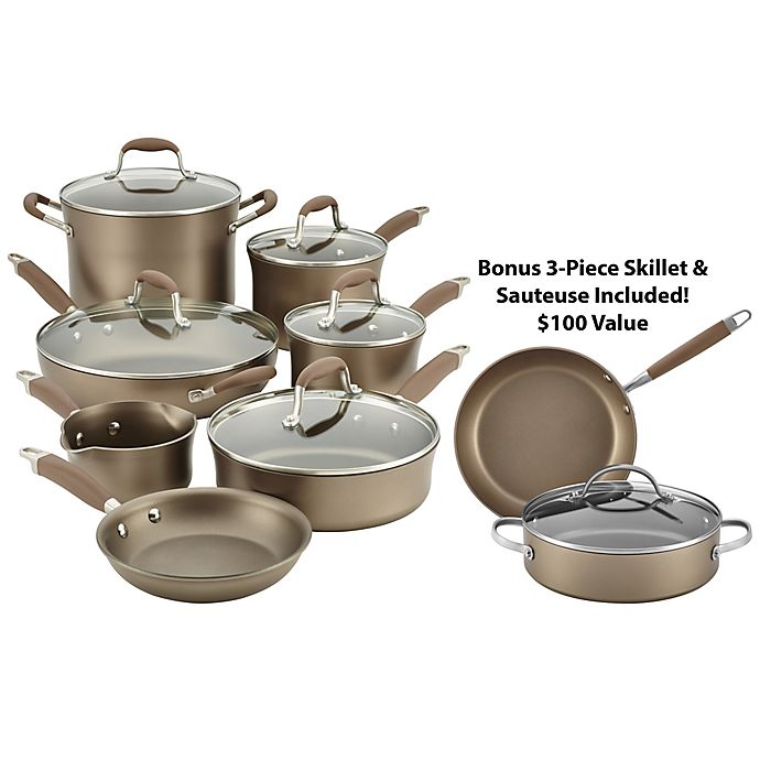 Alternate image 1 for Anolon® Advanced Umber Nonstick Hard Anondized 12-Piece Cookware Set