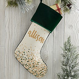 Sparkling Name Personalized Christmas Stocking in Red
