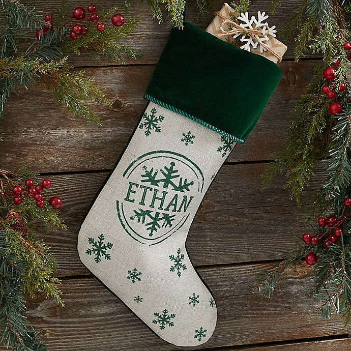 Alternate image 1 for Stamped Snowflake Personalized Christmas Stocking in Green