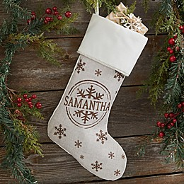 Stamped Snowflake Personalized Christmas Stocking in Red