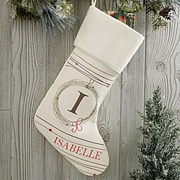 Holiday Wreath Monogrammed Christmas Stocking