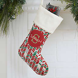 Geometric Pattern Personalized Christmas Stocking in Ivory