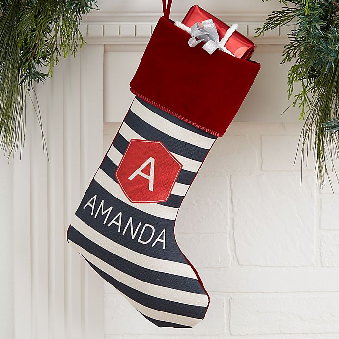 Alternate image 1 for Modern Stripe Personalized Christmas Stocking in Burgundy