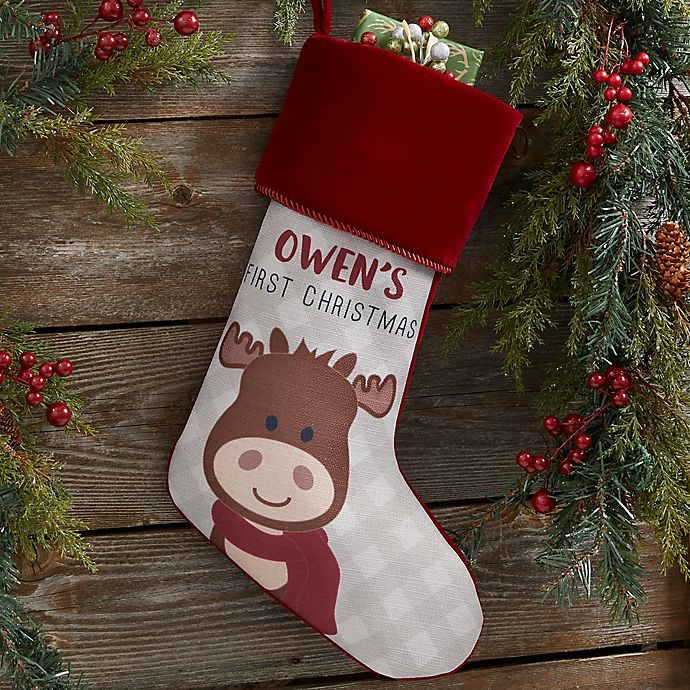 Alternate image 1 for Baby Moose Personalized First Christmas Stocking in Burgundy
