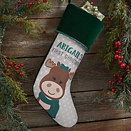 Baby Moose Personalized First Christmas Stocking