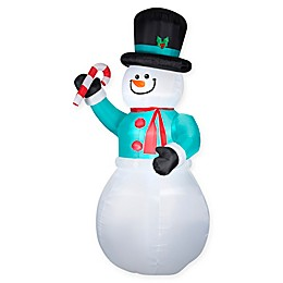 Inflatable Snowman with Candy Cane Lawn Decor