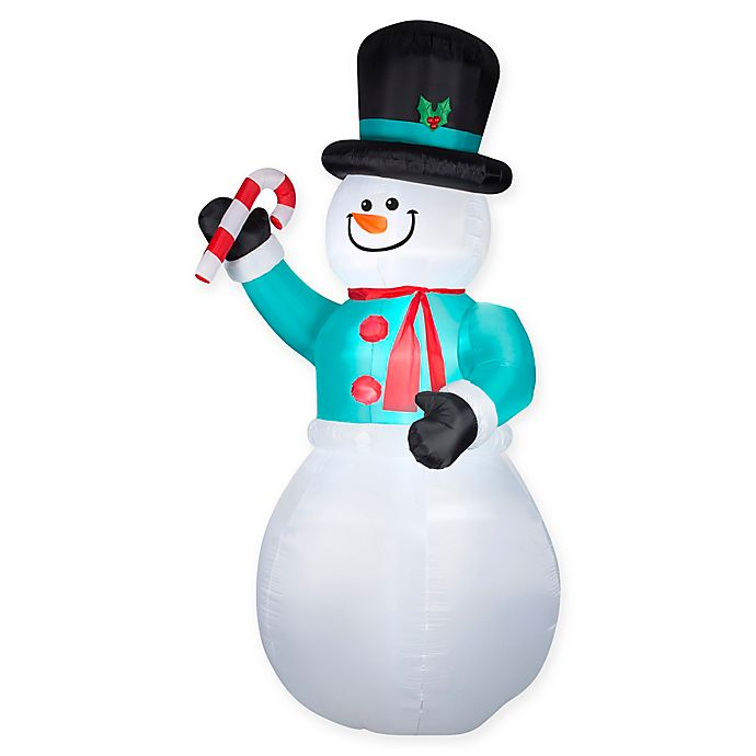 Alternate image 1 for Inflatable Snowman with Candy Cane Lawn Decor