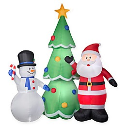 Inflatable Santa and Snowman Lawn Decor