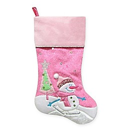 Embroidered Snowman Stocking in Pink