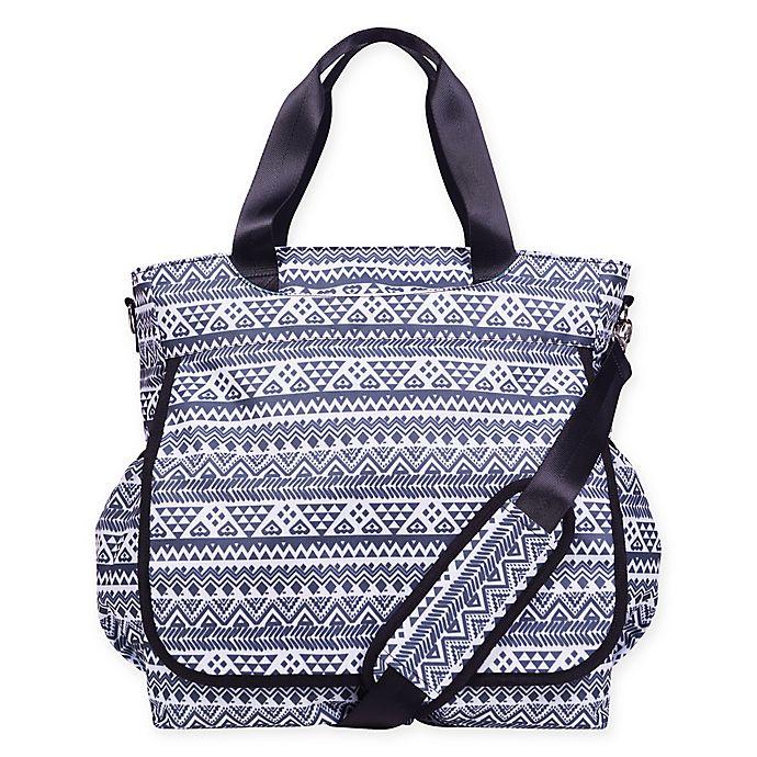 Alternate image 1 for Trend Lab® Aztec-Inspired Tote Diaper Bag in Black/White