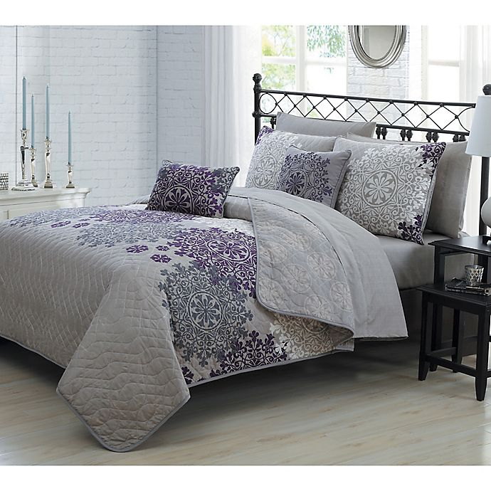 Alternate image 1 for Amber 7-Piece Reversible Twin Quilt Set in Plum