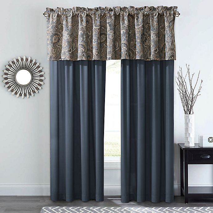 Alternate image 1 for Courtland 84-Inch Rod Pocket Window Curtain Panel Pair in Slate/Gold