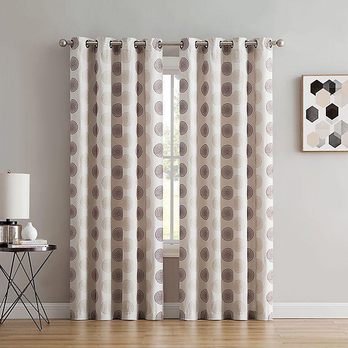Alternate image 1 for Spiral 63-Inch Grommet Window Curtain Panel in Maroon/Beige
