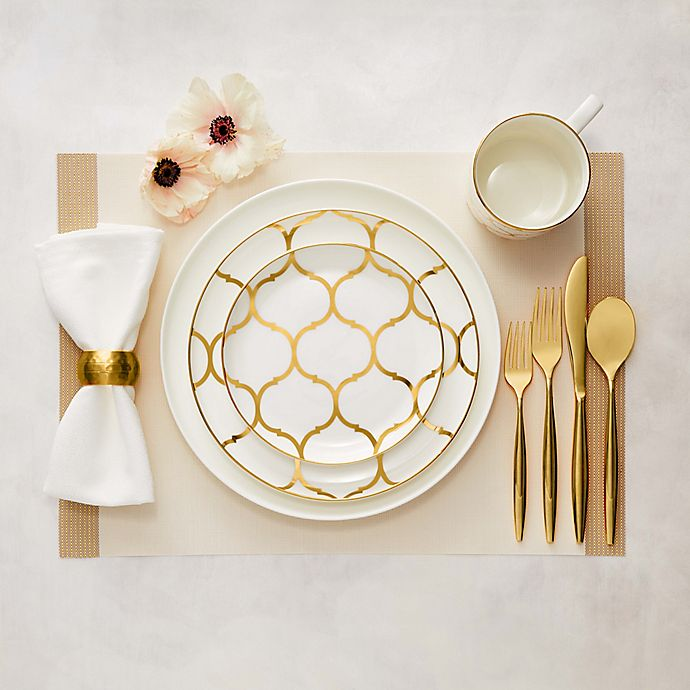 Alternate image 1 for Nevaeh White® by Fitz and Floyd® Coupe Gold Lattice Dinnerware Collection