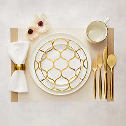 Nevaeh White® by Fitz and Floyd® Coupe Gold Lattice Dinnerware Collection