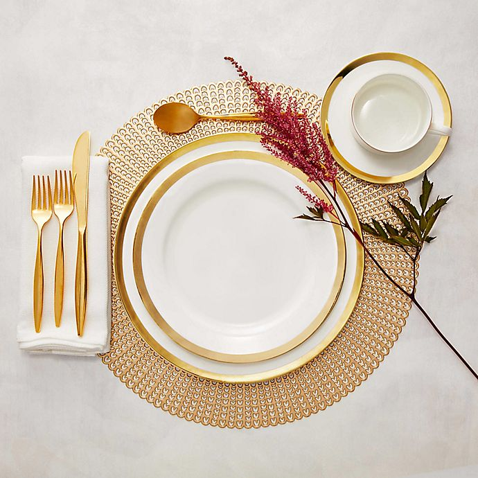 Alternate image 1 for Nevaeh White® by Fitz and Floyd® Grand Rim Gold Dinnerware Collection