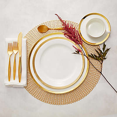 Nevaeh White® by Fitz and Floyd® Grand Rim Gold Snowflake Dinnerware Collection