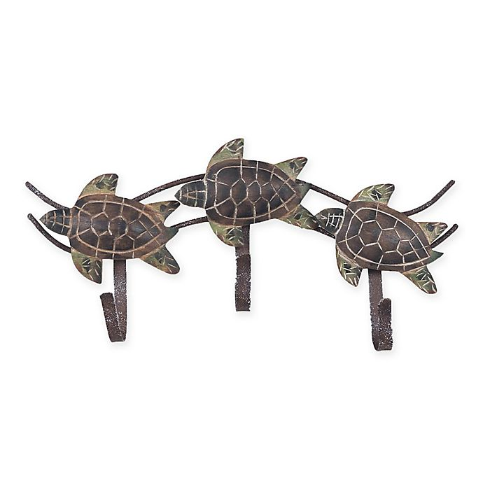 Alternate image 1 for Triple Turtle 11-Inch x 5-Inch Metal Wall Art with Hooks