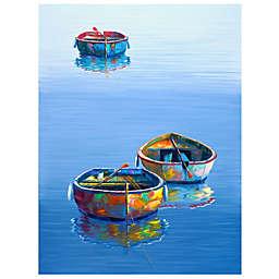 Masterpiece Art Gallery Three Boats Blue Canvas Wall Art