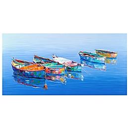 Masterpiece Art Gallery Five Boats Blue Canvas Wall Art