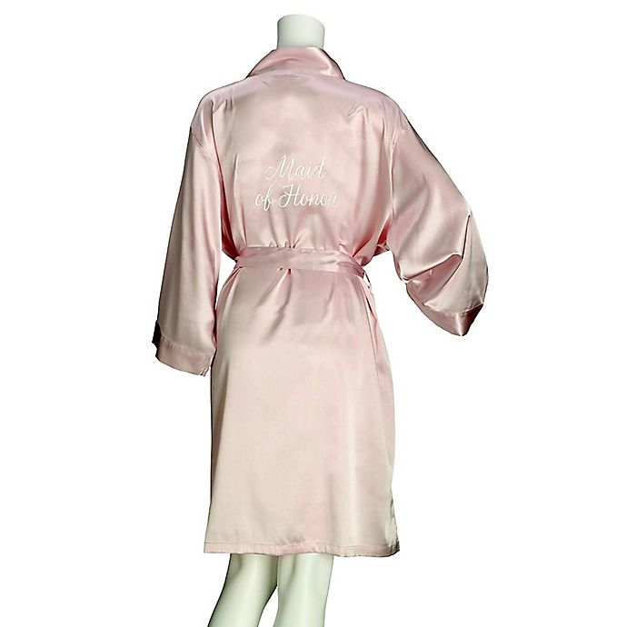Alternate image 1 for Lillian Rose™ Small/Medium Maid of Honor Satin Robe in Blush
