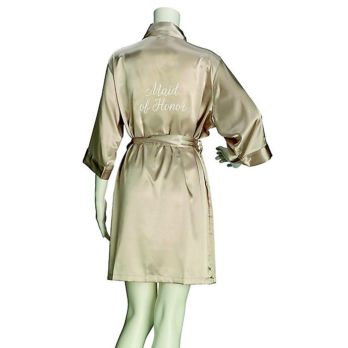 Alternate image 1 for Lillian Rose™ Small/Medium Maid of Honor Satin Robe in Champagne
