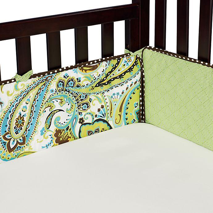 Alternate image 1 for My Baby Sam Paisley Splash Crib Bumper in Lime