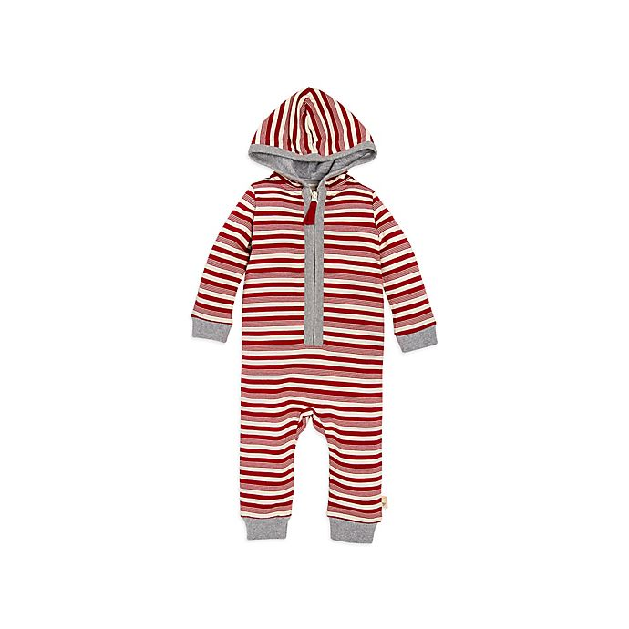 Alternate image 1 for Burt's Bees Baby® Peppermint Stripe Coverall in Red