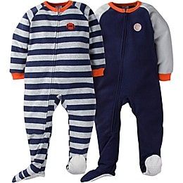 Gerber® 2-Pack Sport Stripes Footie Pajamas in Blue/Grey