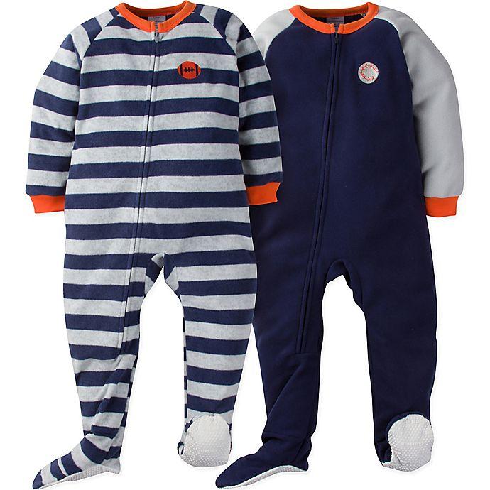 Alternate image 1 for Gerber® Size 5T 2-Pack Sport Stripes Footie Pajamas in Blue/Grey