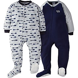 Gerber® 2-Pack Arrow Footie Pajamas in Blue/Grey