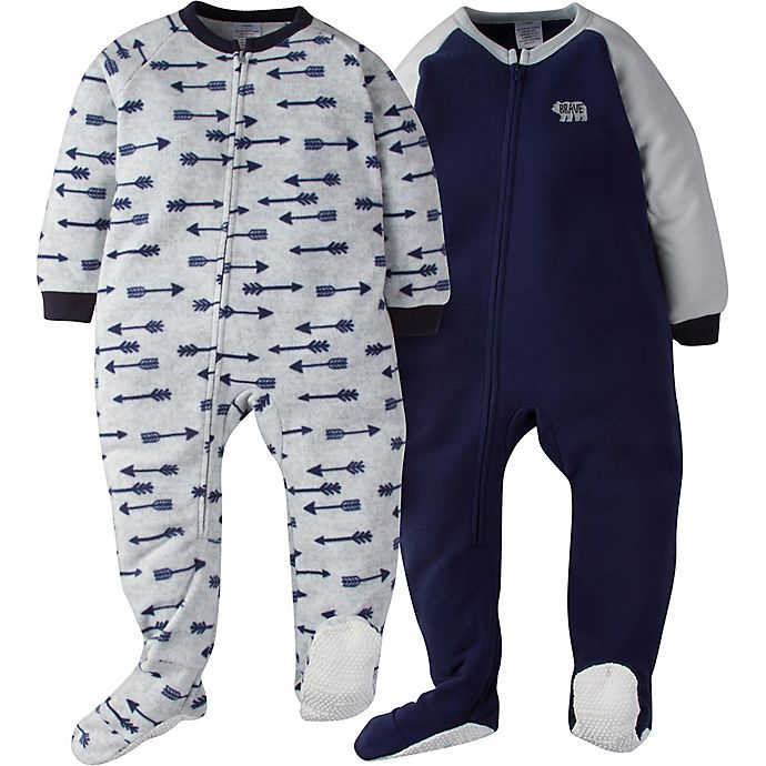 Alternate image 1 for Gerber® Size 5T 2-Pack Arrow Footie Pajamas in Blue/Grey
